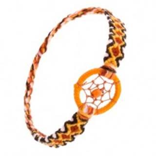 Oranžový náramok z vlny, kosoštvorcový vzor, krúžok s guličkou