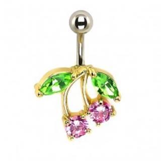 Piercing do pupku - čerešne, ružové a zelené zirkóny, podklad zlatej farby