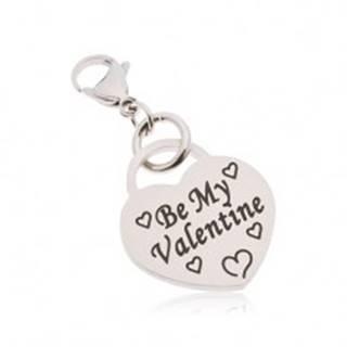 Prívesok na kľúčenku, chirurgická oceľ, srdce s nápisom Be My Valentine