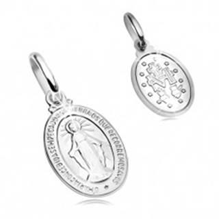 Prívesok z bieleho 14K zlata - oválna známka so symbolmi Panny Márie