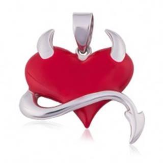 Prívesok zo striebra 925, červené srdce, chvostík, rožky