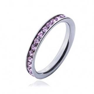 Prsteň s ružovými zirkónmi - oceľová obrúčka - Veľkosť: 49 mm