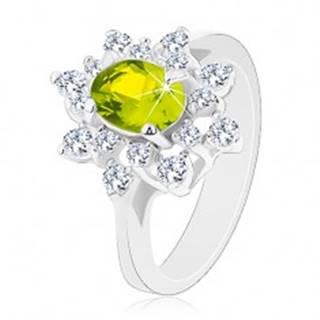 Prsteň so strieborným odtieňom, ligotavý zeleno-číry kvet - Veľkosť: 49 mm