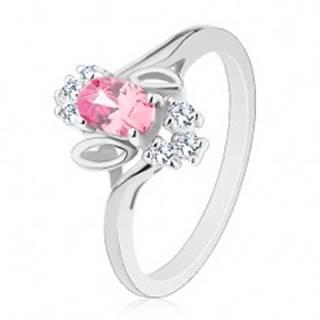 Prsteň v striebornom odtieni, ružový brúsený ovál, lístočky, číre zirkóny - Veľkosť: 54 mm