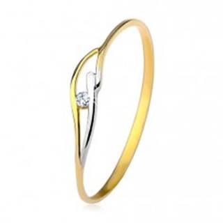 Prsteň v žltom a bielom 14K zlate, úzke ramená, vlnky a zirkón čírej farby - Veľkosť: 50 mm