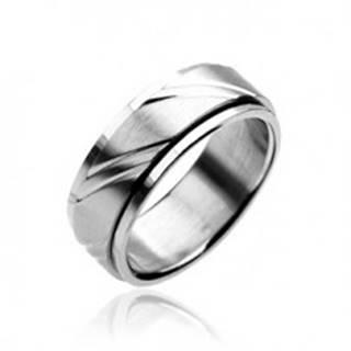 Prsteň z chirurgickej ocele - dvojdielny, striebornej farby, s gravírovaním - Veľkosť: 59 mm