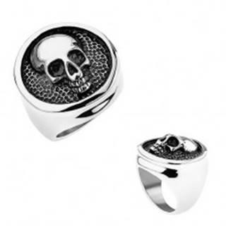 Prsteň z ocele 316L, kruh s vyvýšeným lemom, lebka, čierna patina - Veľkosť: 56 mm