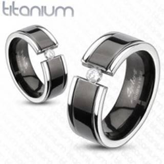 Prsteň z titánu - čierny pás, zirkón - Veľkosť: 49 mm