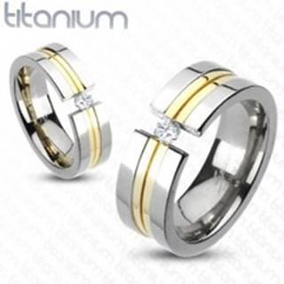 Prsteň z titánu - dva pásy zlatej farby, zirkón - Veľkosť: 49 mm