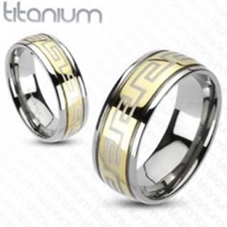 Prsteň z titánu - zlatá a strieborná farba, grécky motív - Veľkosť: 49 mm