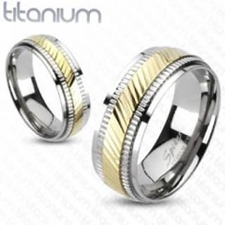 Titánový prsteň - dvojfarebný, vrúbkovaný - Veľkosť: 49 mm