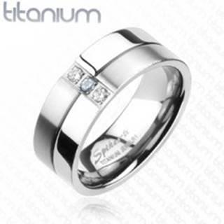 Titánový prsteň - lesklé a matné prúžky, zirkóny - Veľkosť: 59 mm