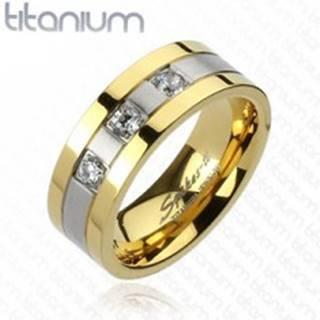Titánový prsteň - zlato-striebornej farby, tri zirkóny - Veľkosť: 59 mm