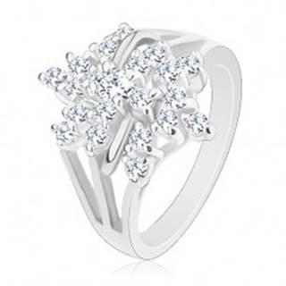 Trblietavý prsteň, strieborná farba, číry zirkónový kvet, rozvetvené ramená - Veľkosť: 48 mm