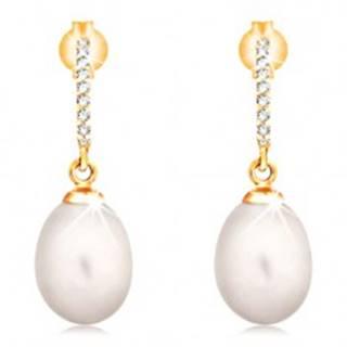 Zlaté 14K náušnice - visiaca oválna perla bielej farby, zirkónový oblúk