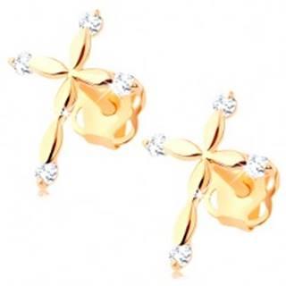 Zlaté diamantové náušnice 585 - latinský krížik, číre brilianty