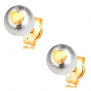 Zlaté náušnice 585 - biela perla s lesklým súmerným srdiečkom