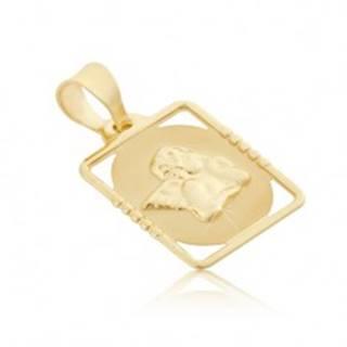 Zlatý 585 prívesok - známka s vystúpeným anjelom v obdĺžnikovom ráme