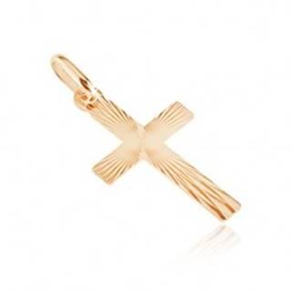 Zlatý plochý prívesok 585 - kríž, lesklé pravidelné črepiny na povrchu