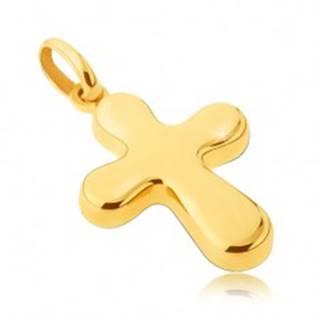 Zlatý prívesok 14 karátový - hrubý, lesklý kríž s oblými cípmi