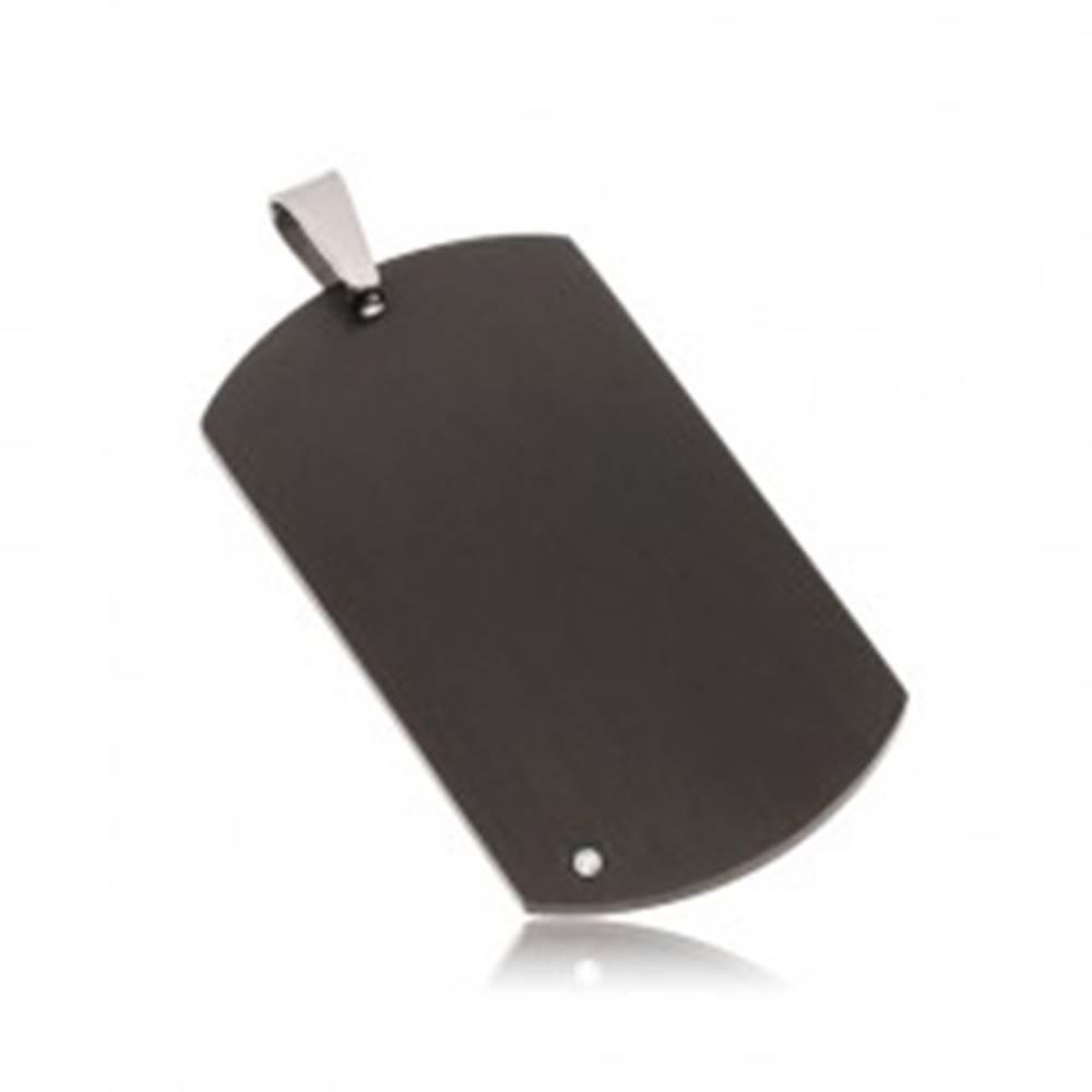 Šperky eshop Čierny oceľový prívesok - matná obdĺžniková známka s čírym zirkónom