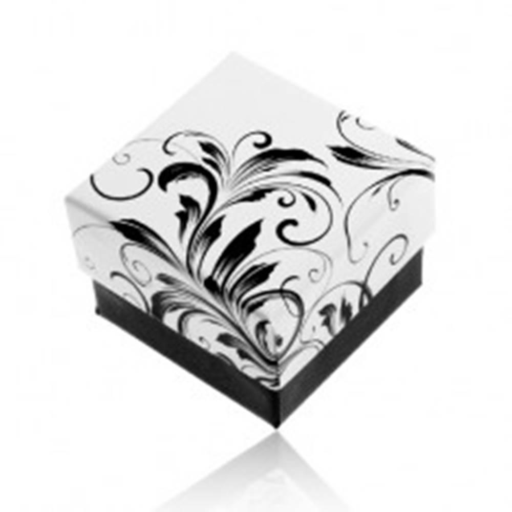 Šperky eshop Darčeková krabička na prsteň, vzor popínavých listov, čierno-biela kombinácia