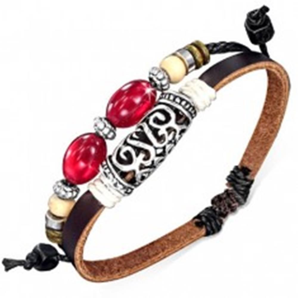 Šperky eshop Dvojitý náramok na ruku - hnedý pás, šnúrka, ozdobný valček, korálky