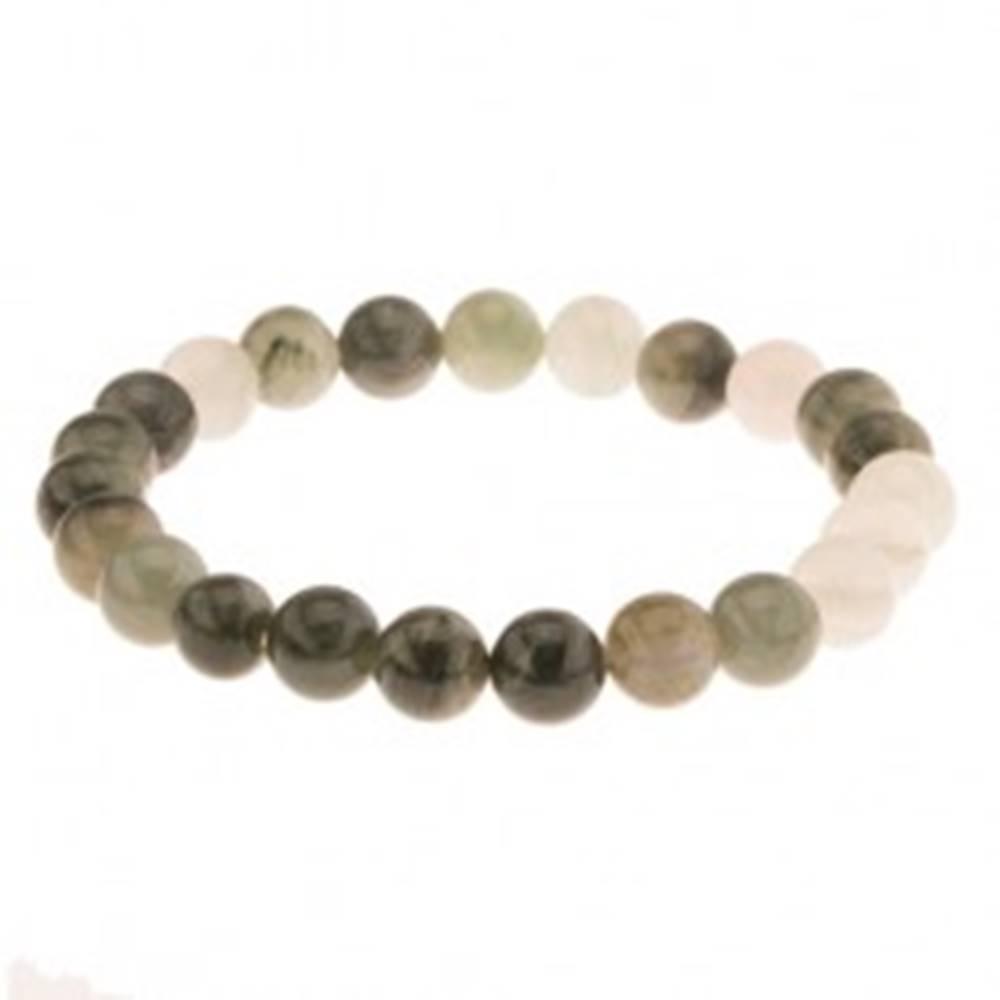 Šperky eshop Elastický náramok, korálky v zelených odtieňoch, gumička