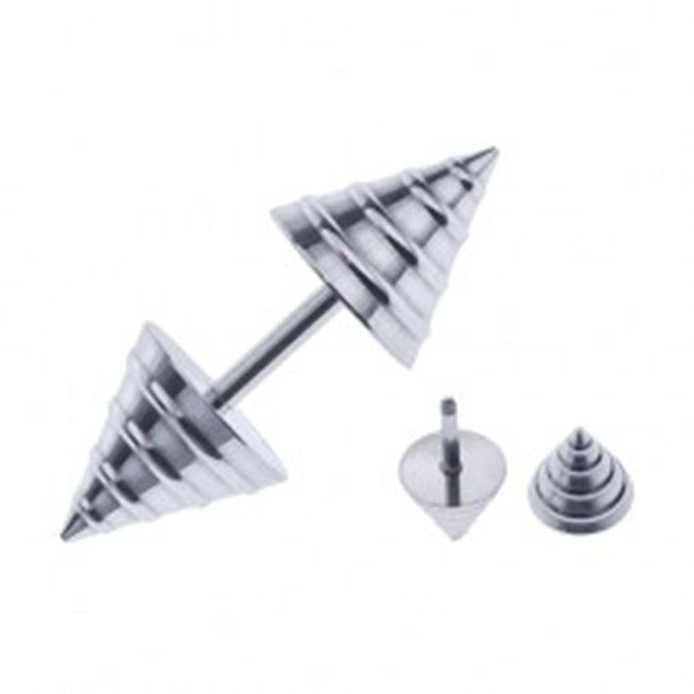 Šperky eshop Fake piercing do ucha v tvare kužeľa - vypuklé pruhy striebornej farby