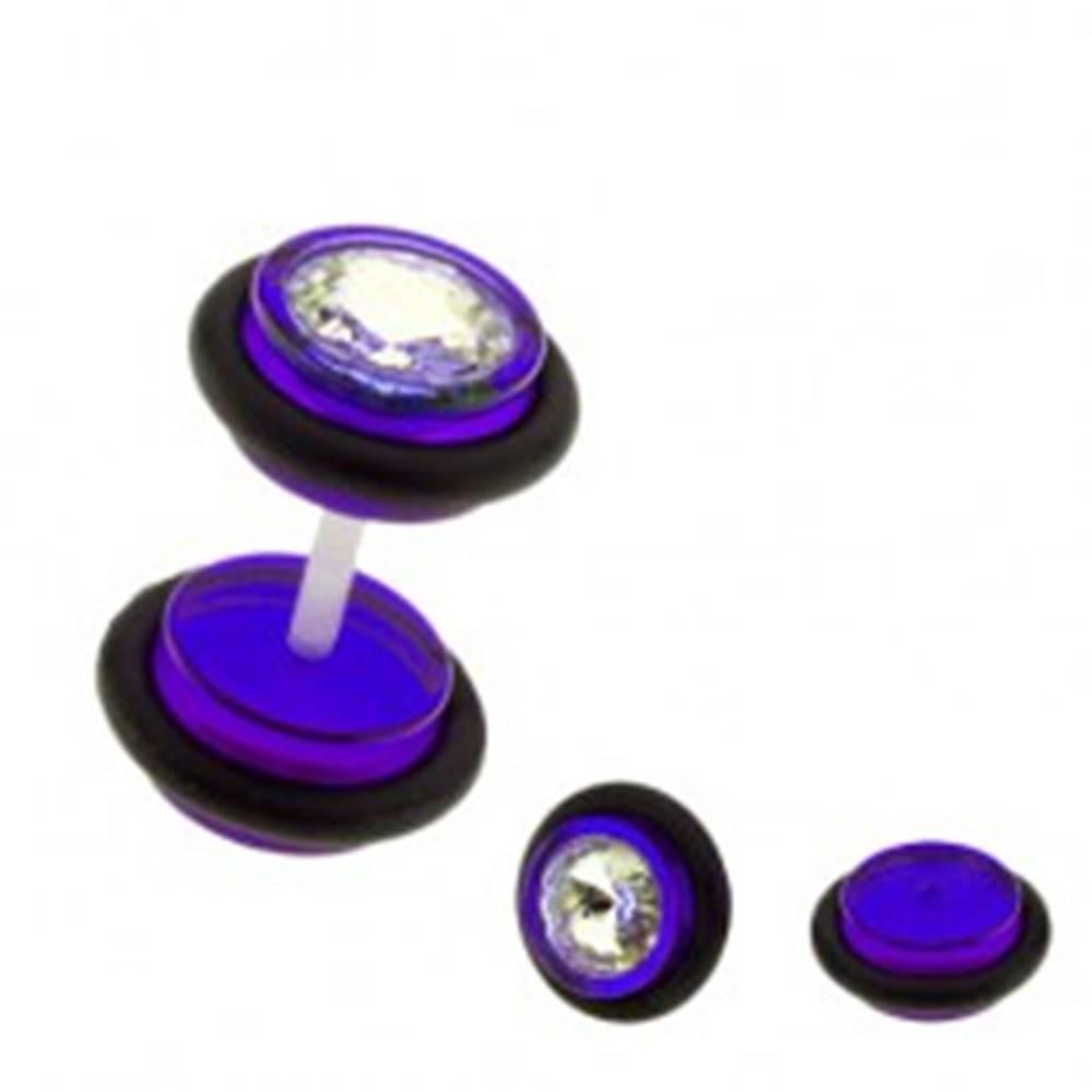 Šperky eshop Falošný plug do ucha UV - farebné kolieska, zirkón - Farba piercing: Červená