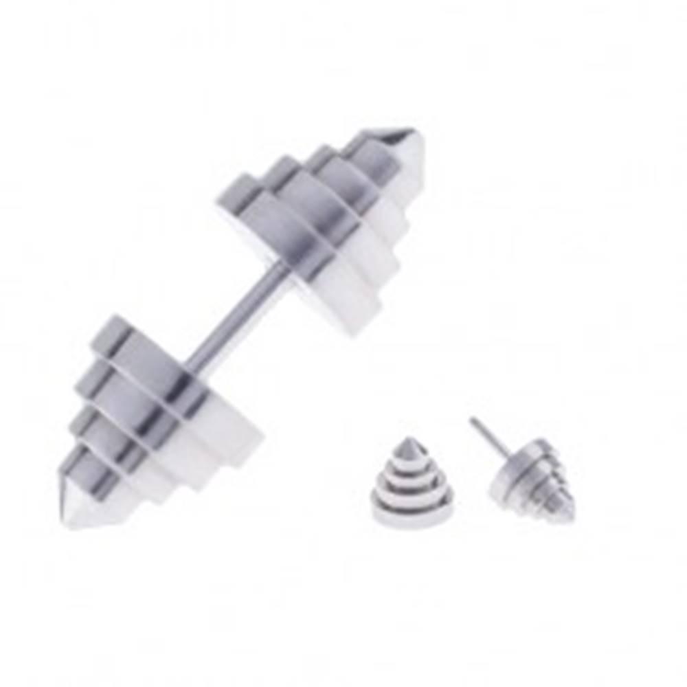 Šperky eshop Falošný plug do ucha z ocele v tvare pyramídovo zrezaného kužeľa