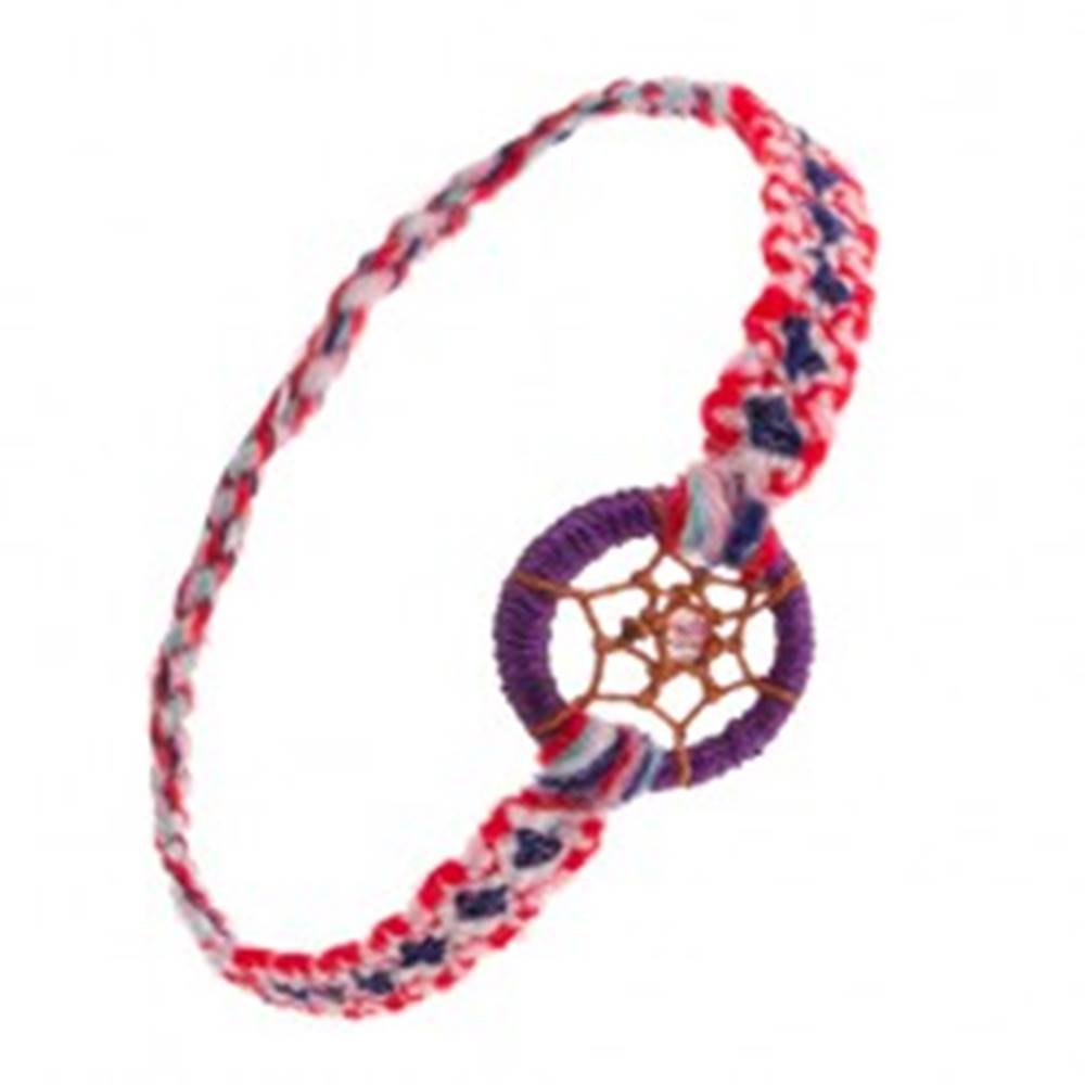 Šperky eshop Farebný náramok na ruku z mäkkej vlny, krúžok, pavučinka s korálkou, štýl lapač snov