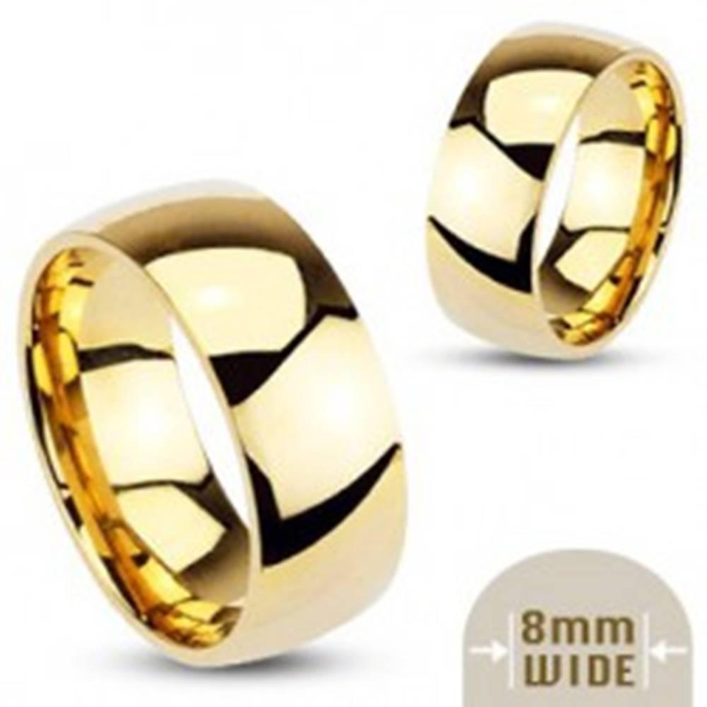 Šperky eshop Hladká oceľová obrúčka v zlatej farbe - 8 mm - Veľkosť: 59 mm