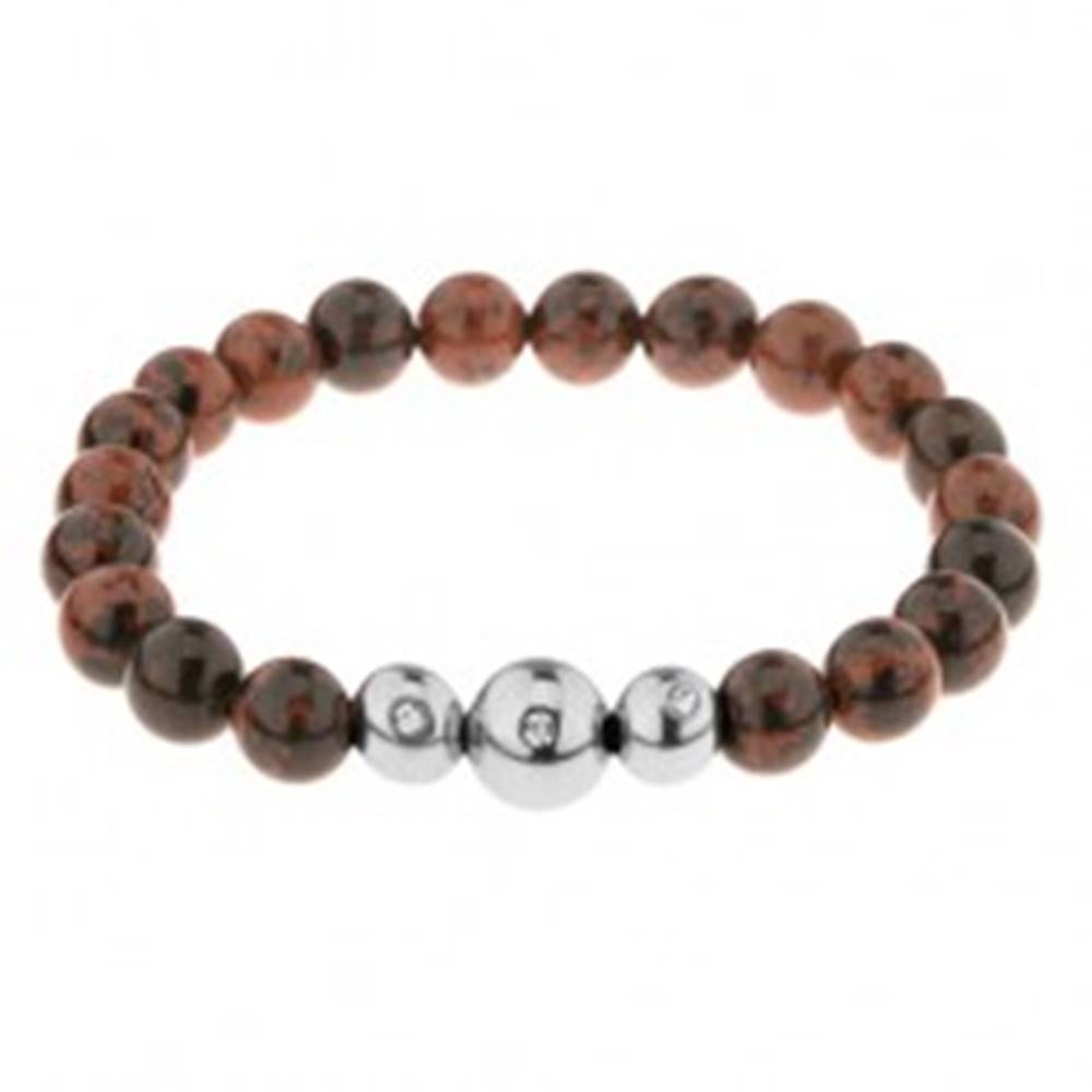 Šperky eshop Hnedo-čierny elastický náramok, guľaté korálky z prírodného kameňa a ocele