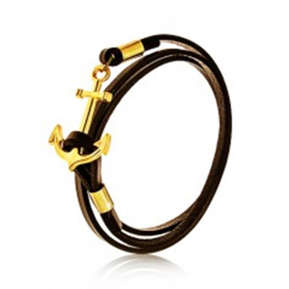 Šperky eshop Hnedočierny koženkový náramok na trojité obtočenie okolo zápästia, lodná kotva