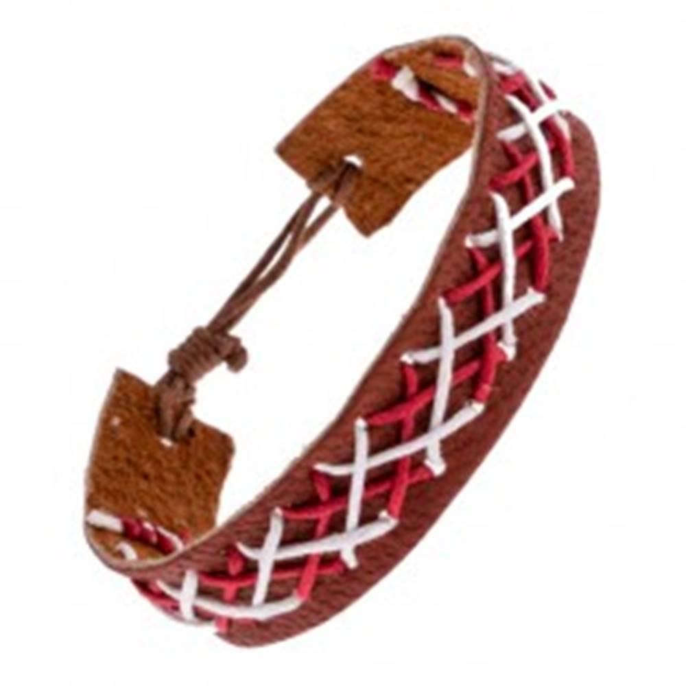 Šperky eshop Kožený náramok na ruku hnedej farby - prepletené šnúrky dvoch farieb
