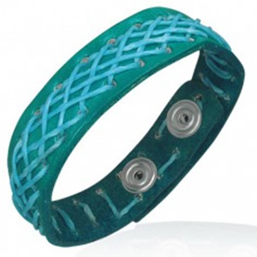 Šperky eshop Kožený náramok - tyrkysový, prešívaný motúzom
