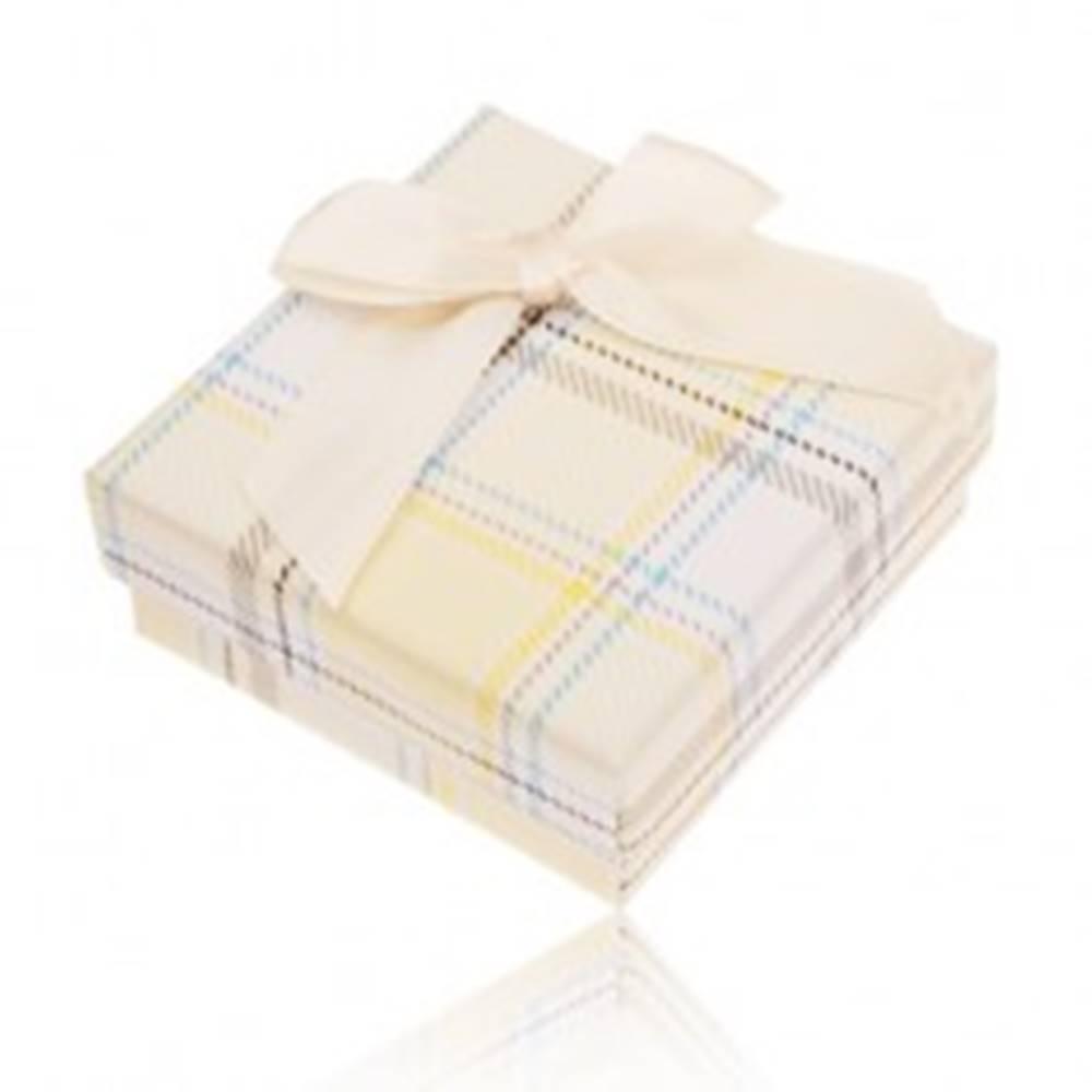 Šperky eshop Krabička na prsteň, náušnice a prívesok, žltý károvaný vzor, mašľa