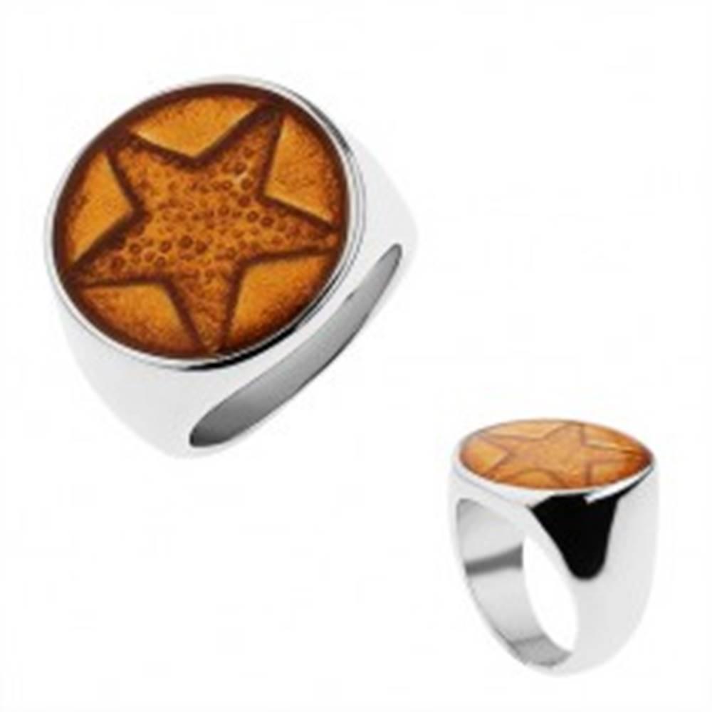 Šperky eshop Mohutný prsteň z chirurgickej ocele, päťcípa hviezda trblietavej zlatej farby - Veľkosť: 57 mm