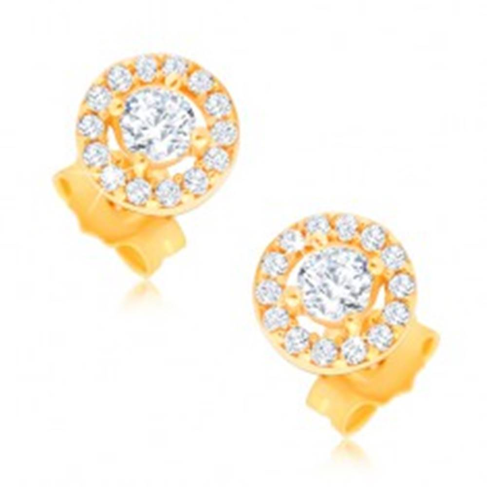 Šperky eshop Napichovacie náušnice zo 14K zlata - kruh so vsadenými zirkónikmi