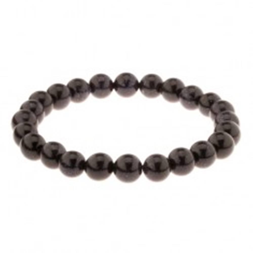 Šperky eshop Náramok na ruku s tmavomodrými guličkami, pružná gumička