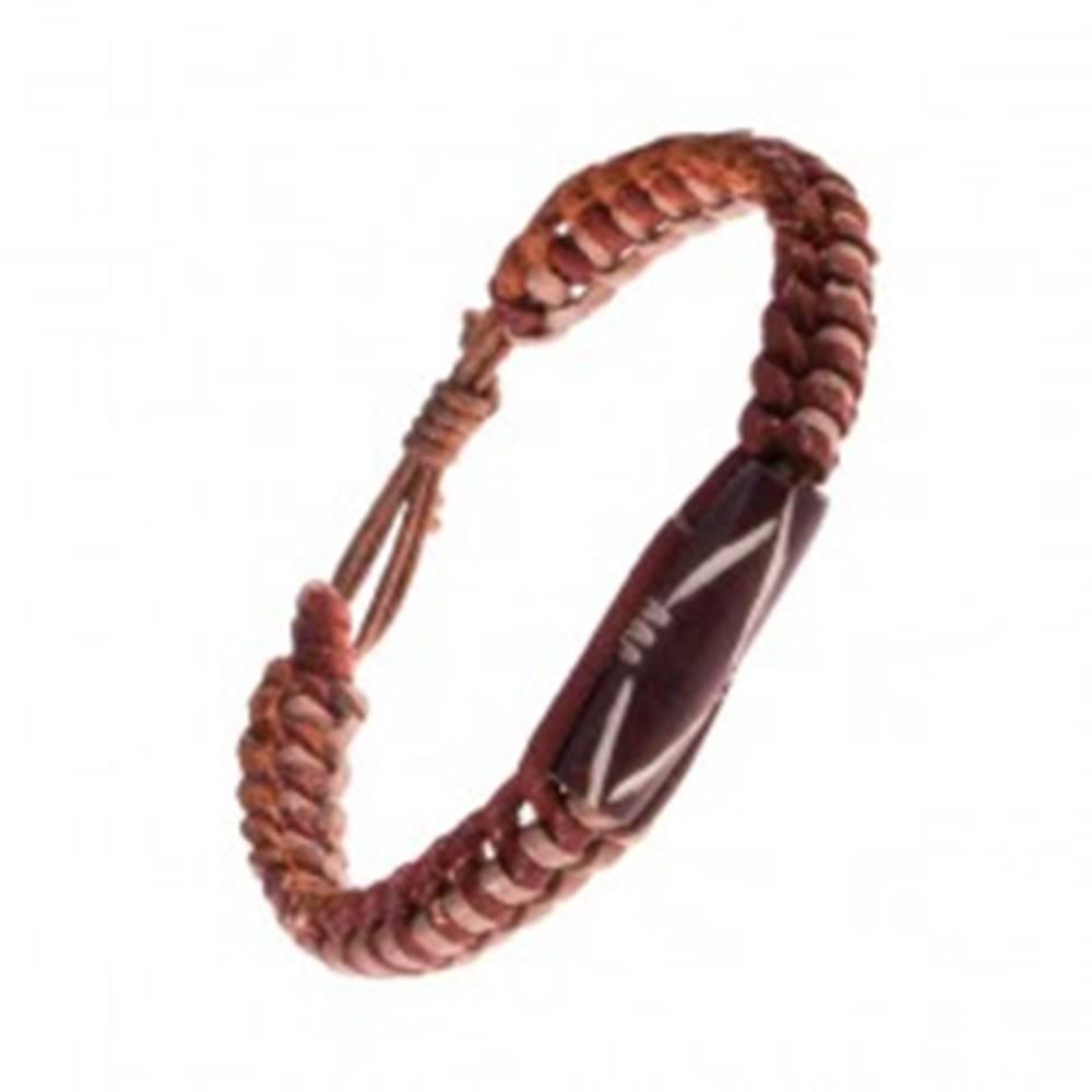 Šperky eshop Náramok na ruku z kože - dvojfarebný, pletený, valček s výrezmi