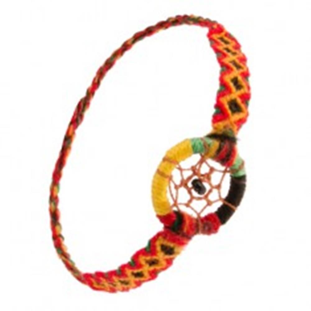 Šperky eshop Náramok z farebných nití, čierna korálka v kruhovom prívesku