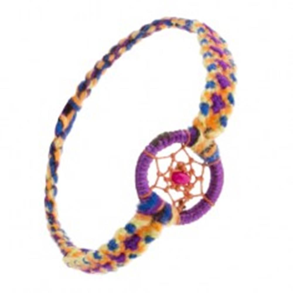 Šperky eshop Náramok z farebných nití, ružová korálka v kruhu s pavučinkou