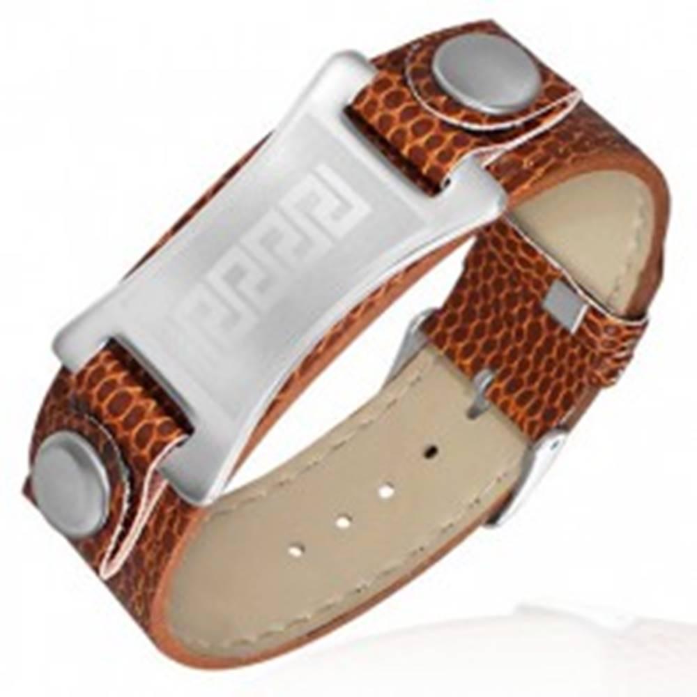 Šperky eshop Náramok z umelej kože - hnedý, grécky motív