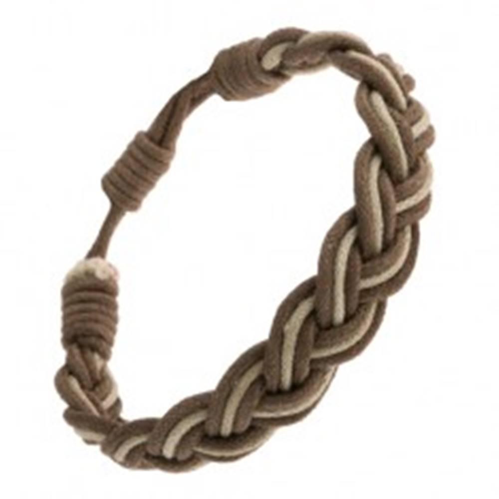 Šperky eshop Nastaviteľný šnúrkový náramok, vrkoč tmavej a svetlej kaki farby