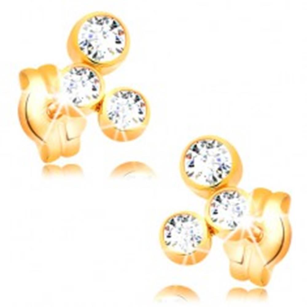 Šperky eshop Náušnice v žltom 14K zlate - oblúk z troch ligotavých zirkónov