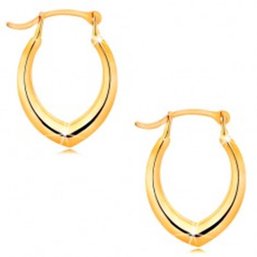 Šperky eshop Náušnice v žltom 14K zlate - špicatá podkovička, lesklý hladký povrch