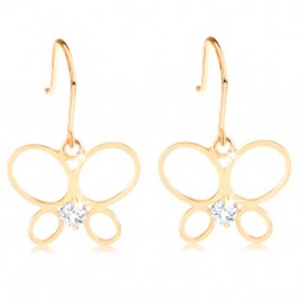 Šperky eshop Náušnice v žltom 14K zlate - tenký obrys motýľa, okrúhly diamant čírej farby