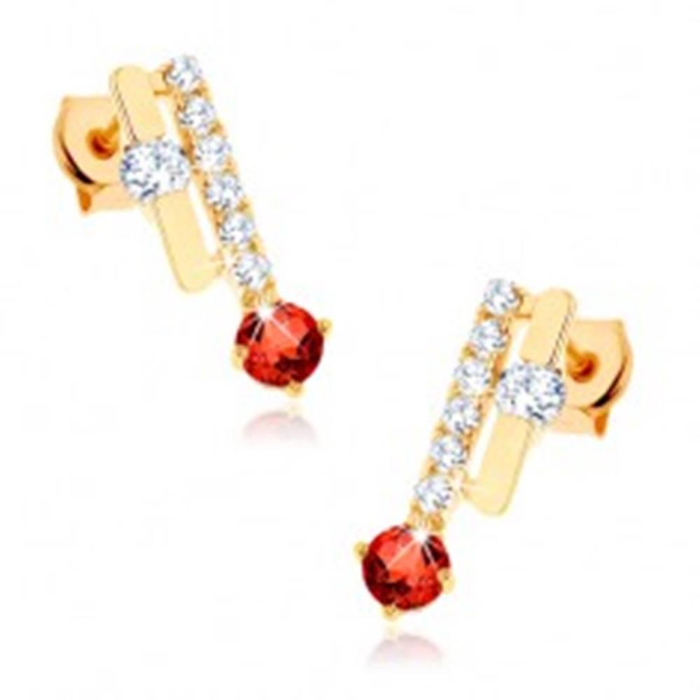 Šperky eshop Náušnice v žltom 9K zlate - dva pásiky, oranžovočervený granát, číre zirkóny